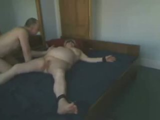 Using And Abusing My Old Slut Tied On Bed