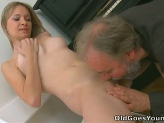 Mayas tiny tits get bounced around by an old dude fucking her nice and hard