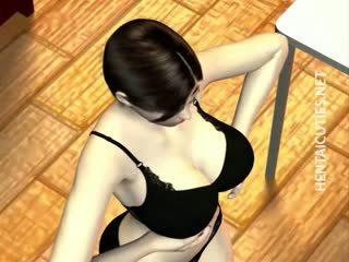 3D Hentai Bitch Eat Two Big Black Dicks