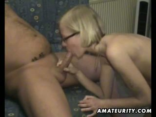 Sexy blonde ex girlfriend home fucking with cum
