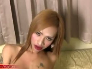 Teen ladyboy with round boobs sucks her lips on massive cock