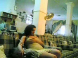 Arabian Housewife Tries Sofa And Masturbates On It