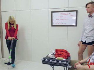 Sweet blonde schoolgirl gets brutal anal hatefuck on pogo stick