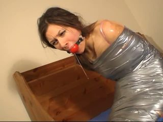 Duct Tape Mummified Girl Gagtalks and Drools Pt 1: Porn b3