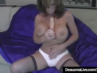 Hot Cougar Deauxma Squirts a Puddle after Dildo Banging