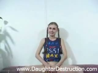 Cute daughter fucked by dirty old daddy