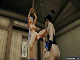 Hogtied 3d girl gets pussy explored