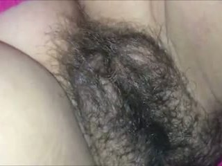 Cumming All Over her Hairy Pussy CLOSEUP