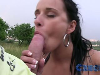 Czech - Hot babe has hard sex on public park