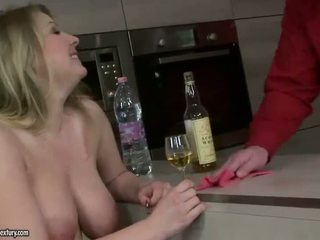 Guy fucking and pissing on busty bitch