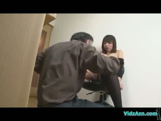 meest kantoor scène, heet chinees scène, hq bodystocking video-