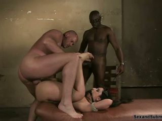 Big ass brunette gets tied and forced to swallow cum in group sex