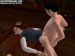 Two hot hunks have anal in library