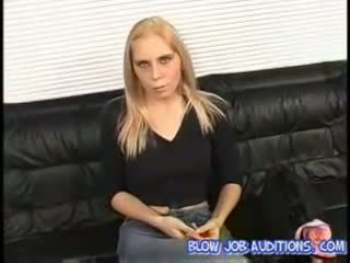 Kelly sucking and swallowing at blowjob auditions