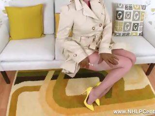 Blonde MILF Flashing Wanking in Sheer Nylon Retro...