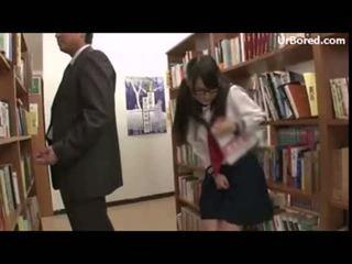 schoolgirl drilled by library geek 12