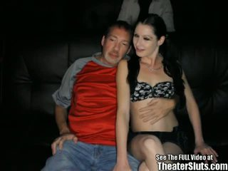Skinny Pale Chick Anal Theater Gangbang!