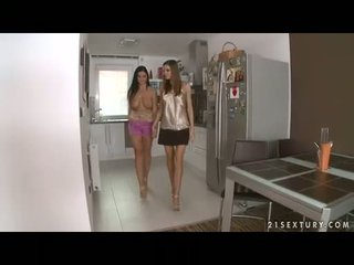 Busty lesbian Christina Jolie gets her gigantic boobies adored by lusty Eufrat