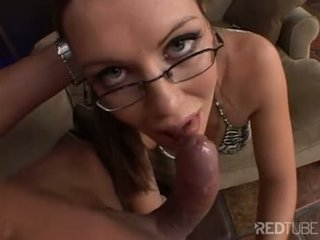 Cum gargling brunette with glasses