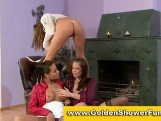 Piss loving lesbians take golden shower