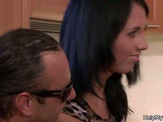 Old husband watching brunette cuckolds