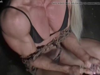 Female Bodybuilders Muscles Strain Against Chains: Porn 1b