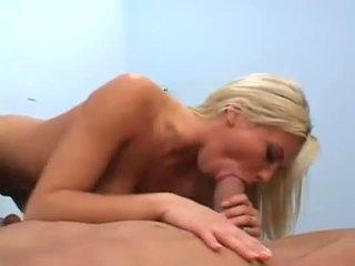 Horny blonde slut Bree Olson gobbles pork sword in hot 69 action