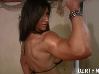 Muscular FBB Strips and Fucks Herself with a Big Dildo
