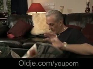 Old perv visit old fellow and gets to fuck his girl anal
