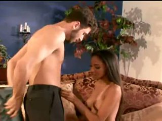 Cute brunette Alexis Love packs her mouth with dick sucking wildly
