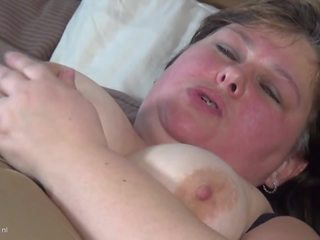 Chubby Dutch Mature Housewife Takes Double Dildo: Porn 1a
