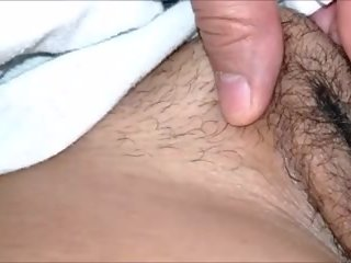 Sneak Peaks of Me Playing with Her Hairy Pussy and Fat