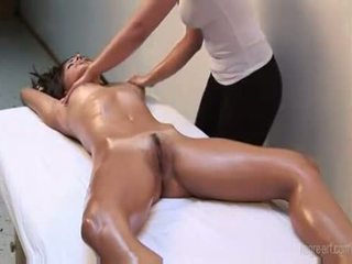 Oiled Up And Getting Massage By A Hot Lesbian