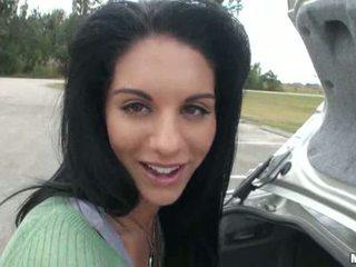 Bella Reese stunning brunette girlfriend public posing outdoor