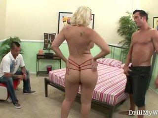 dojrzały, żona, blondynka