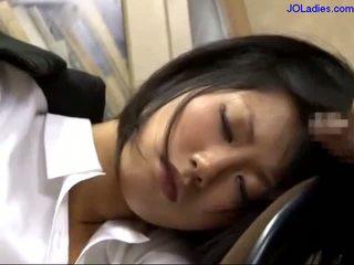babes, ufficio, addormentato