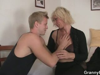 Granny Bet: Old blonde is doggy style fucked !