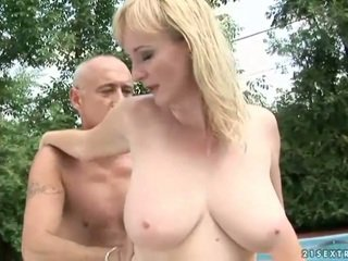 Busty grandma gets fucked by her trainer
