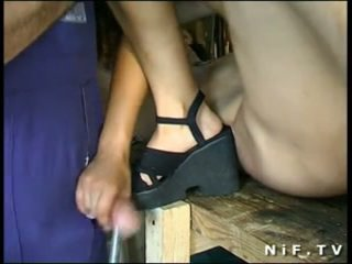 French Brunette sodomized in threesome...
