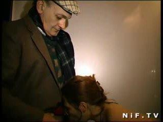 Young french readhead slut gangbanged by old men