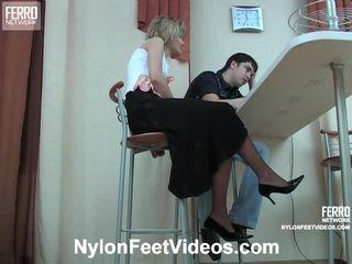 fetiche, estocando sexo, nylons feet