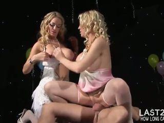Two sluts eat cum after dirty fucking random stranger - Porn Video 371