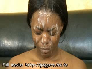 Black babe cum spermmed on face
