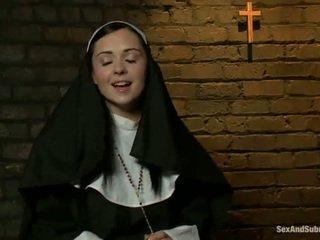 Erótico freira has tied para cima e bumped forte por two persons