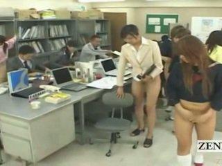 Subtitled halv naken bottomless japanska skola kontors