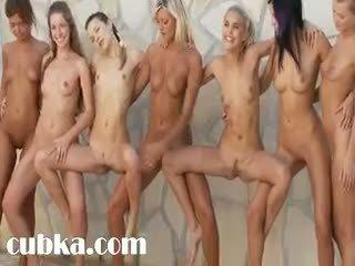 Seven daintily karstās babes stripping