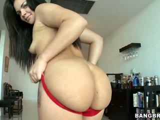 Big Butt Brunette Violet Vasquez Removes Her Red Panties
