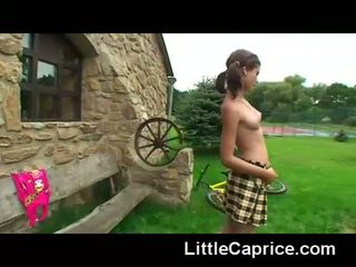 Naked Little Caprice Plays Games Outdoors