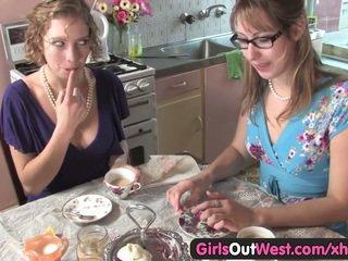 Cute Australian lesbians lick their pi...