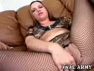 Passionate army slut in fish nets Nadia Sinn spreading her big round ass